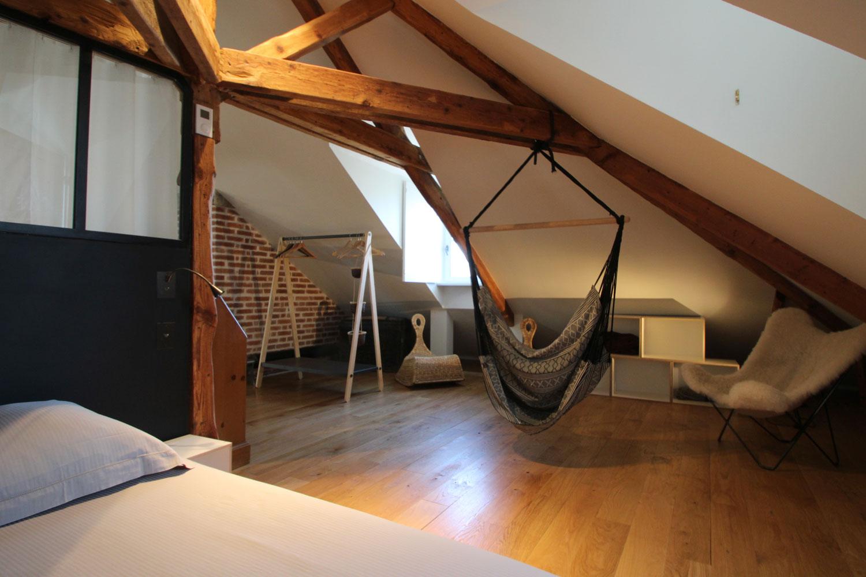 Chambre à coucher pour deux personnes de notre appartement en location à Vannes.