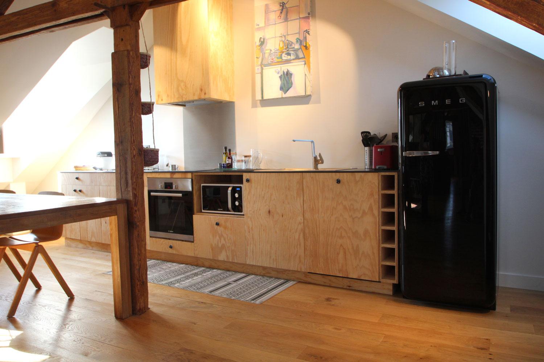 Cuisine équipée de notre loft en location sur Vannes.